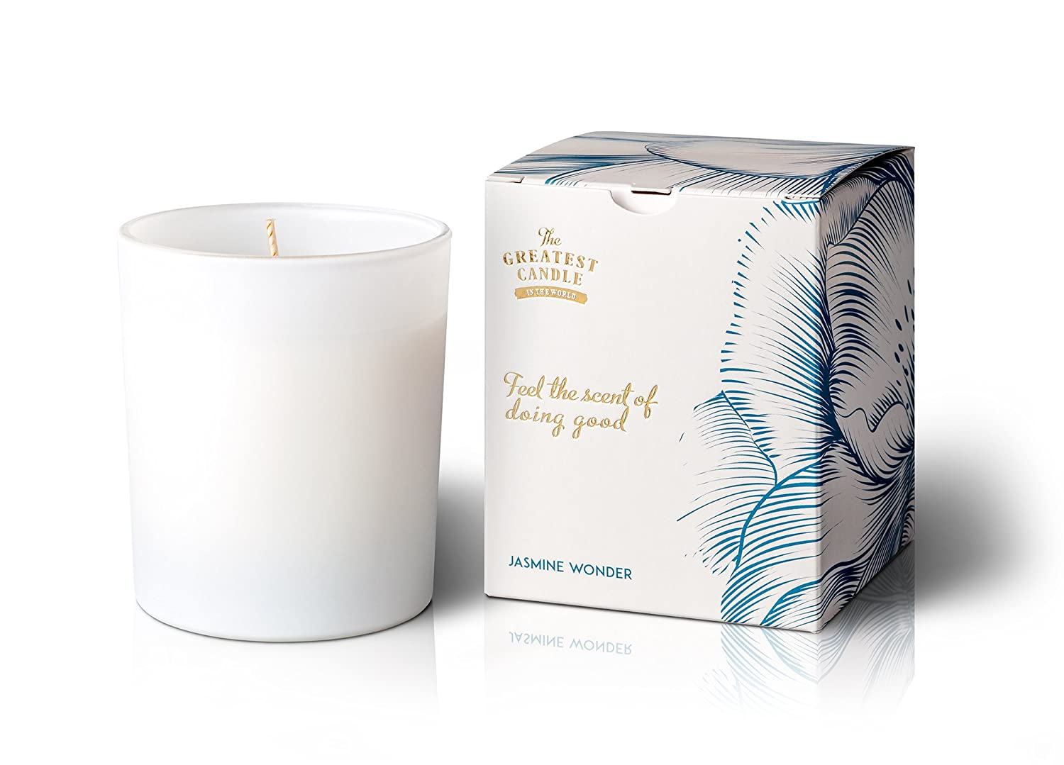 The Greatest Candle In The World Candela con Profumo di Jasmine Wonder, Cera vegetale e Vetro, Bianco, 8.5 x 8.5 x 10 cm O2W S.A. RMGW0335
