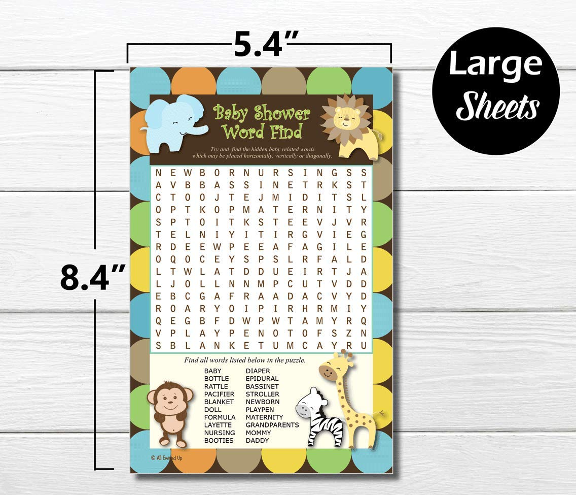 Amazoncom Word Find Search Baby Shower Game King Of Jungle
