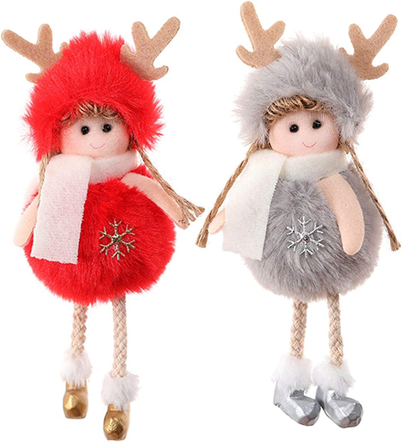 PGYFIS Christmas Decoration 2 Pieces Elk Angel Doll Pendant Tree Hanging Ornaments Christmas Crafts Elves Decorations Red and Gray (Angel-Elk-R&G)