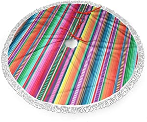 MSGUIDE Mexican Blanket Serape Stripe Christmas Tree Skirt 48 Inch Large Halloween Xmas Tree Decor for Holiday Party Decor Christmas Decoration