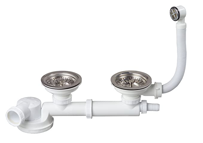 Wirquin TM210099 Siphon + 2 Bondes à panier + Tubulure + Prise machine à laver