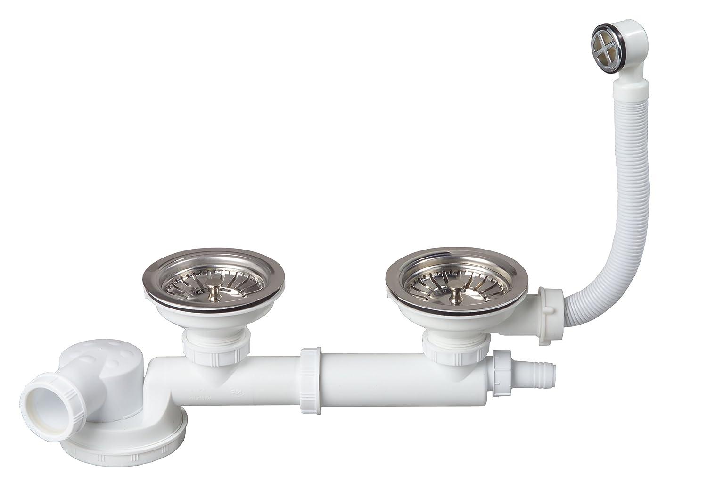 Wirquin TM210099 Siphon 2 Bondes /à panier Tubulure Prise machine /à laver
