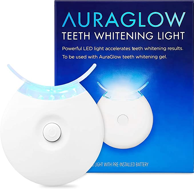 Amazon Com Auraglow Teeth Whitening Accelerator Light 5x More Powerful Blue Led Light Whiten Teeth Faster Health Personal Care