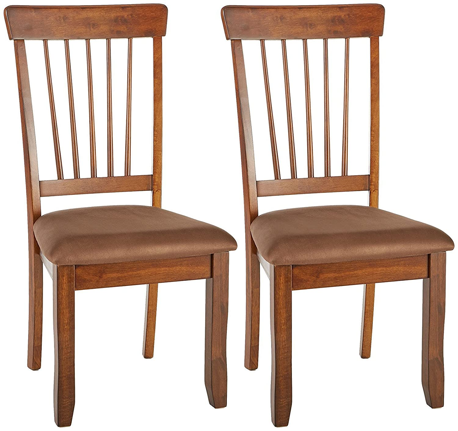 Ashley Furniture Signature Design – Berringer Dining Side Chair – Spindle Back – Set of 2 – Hickory Stain Finish