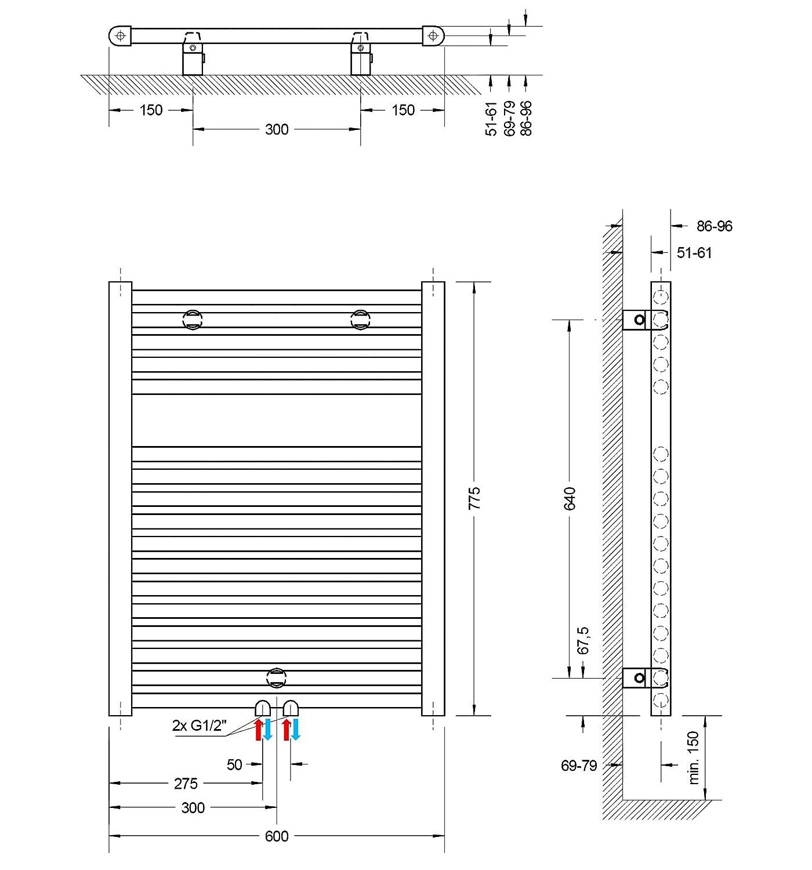 alpin-wei/ß Anschluss unten 121 x 50 cm 678 Watt Leistung Schulte Bad-Heizk/örper M/ünchen Heizk/örper f/ür Zweirohr-Systeme