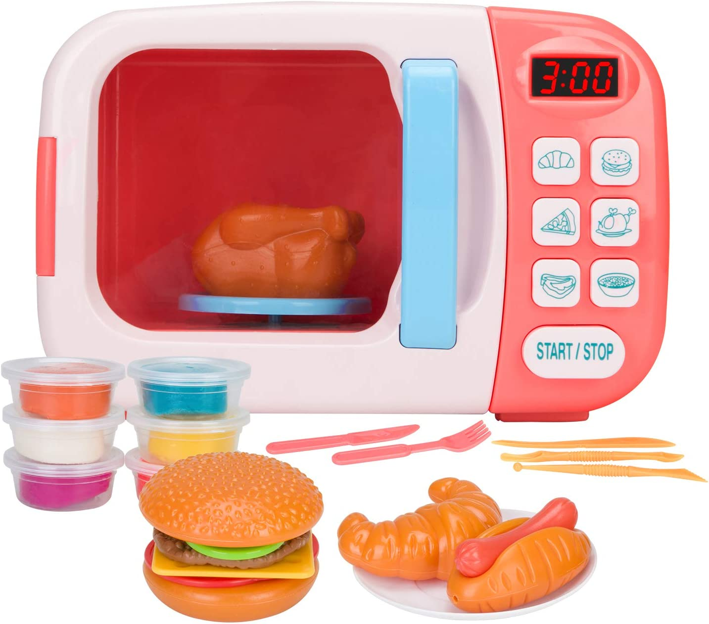 Vazussk Electronic Kitchen Toys Pretend Microwave Oven Play Set for Kids Toddlers Age 3 and up with 6Pcs Play Dough (Pink)