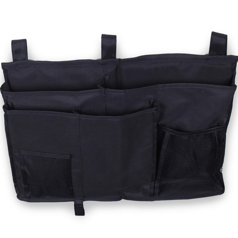 8 Pockets,Black Parentswell Bedside Caddy Storage Bag for Hospital Dorm Rooms Bed Rails and Bunk Hanging Organizer