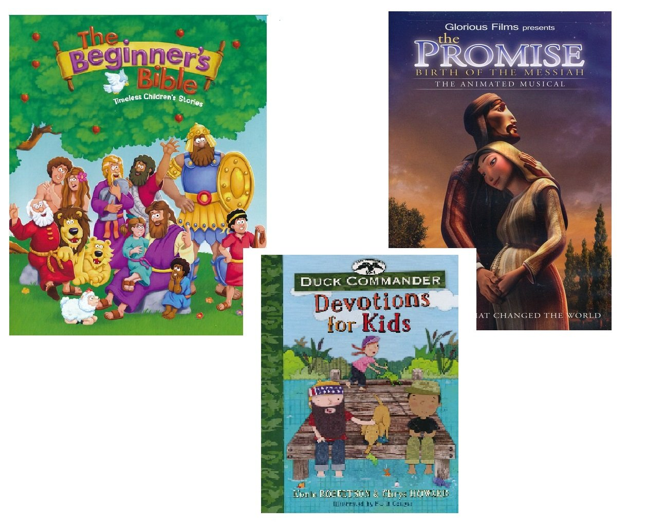 Children's Christian Gift Set - The Beginner's Bible, The Promise Birth of The Messiah: Animated Musical, DVD Plus Duck Commander Devotions for Kids