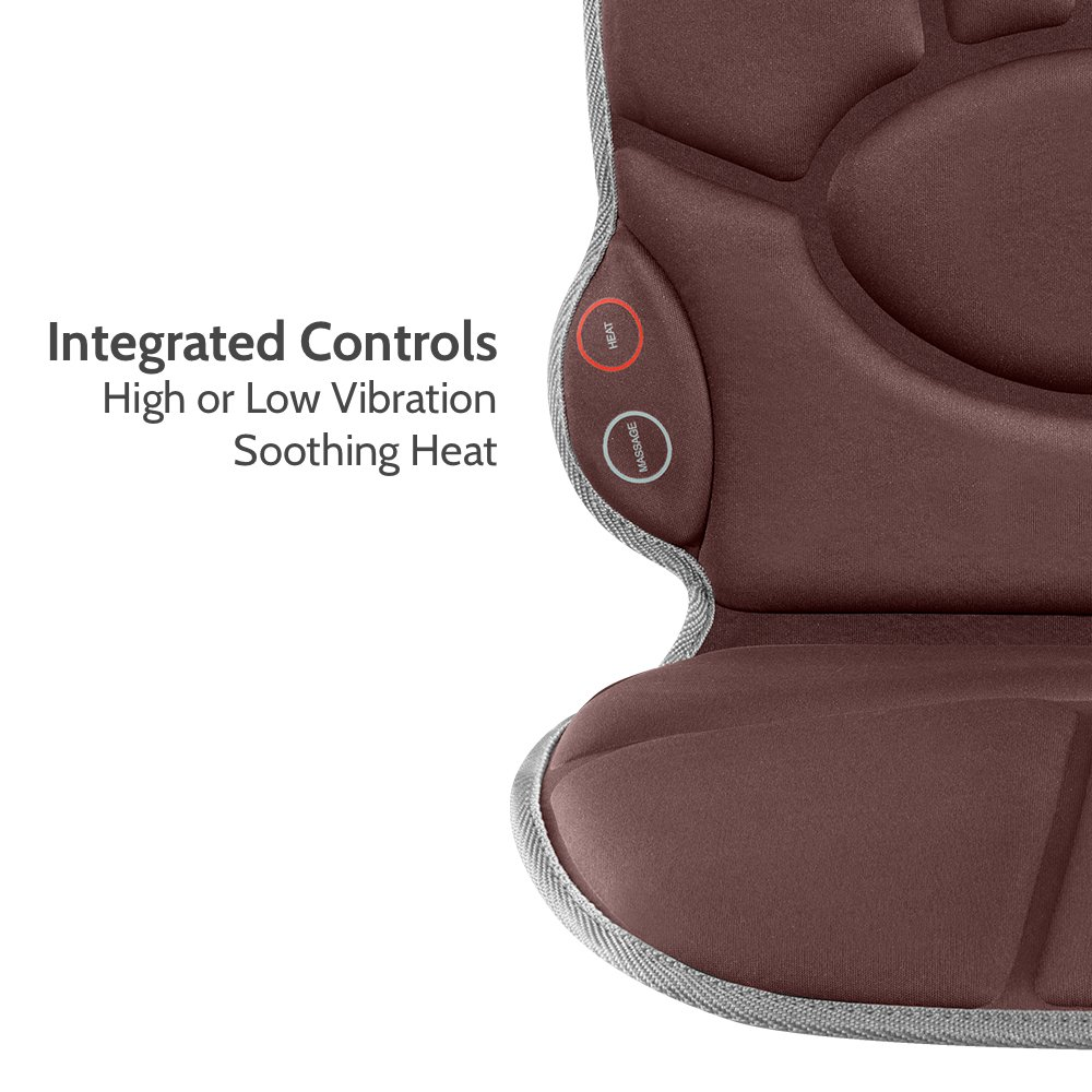 Portable Back Massage Cushion Heated Vibrating Pad Multi Speed Soft Fabric Back Lumbar Shoulder Kneading Includes Adapters For Home Car