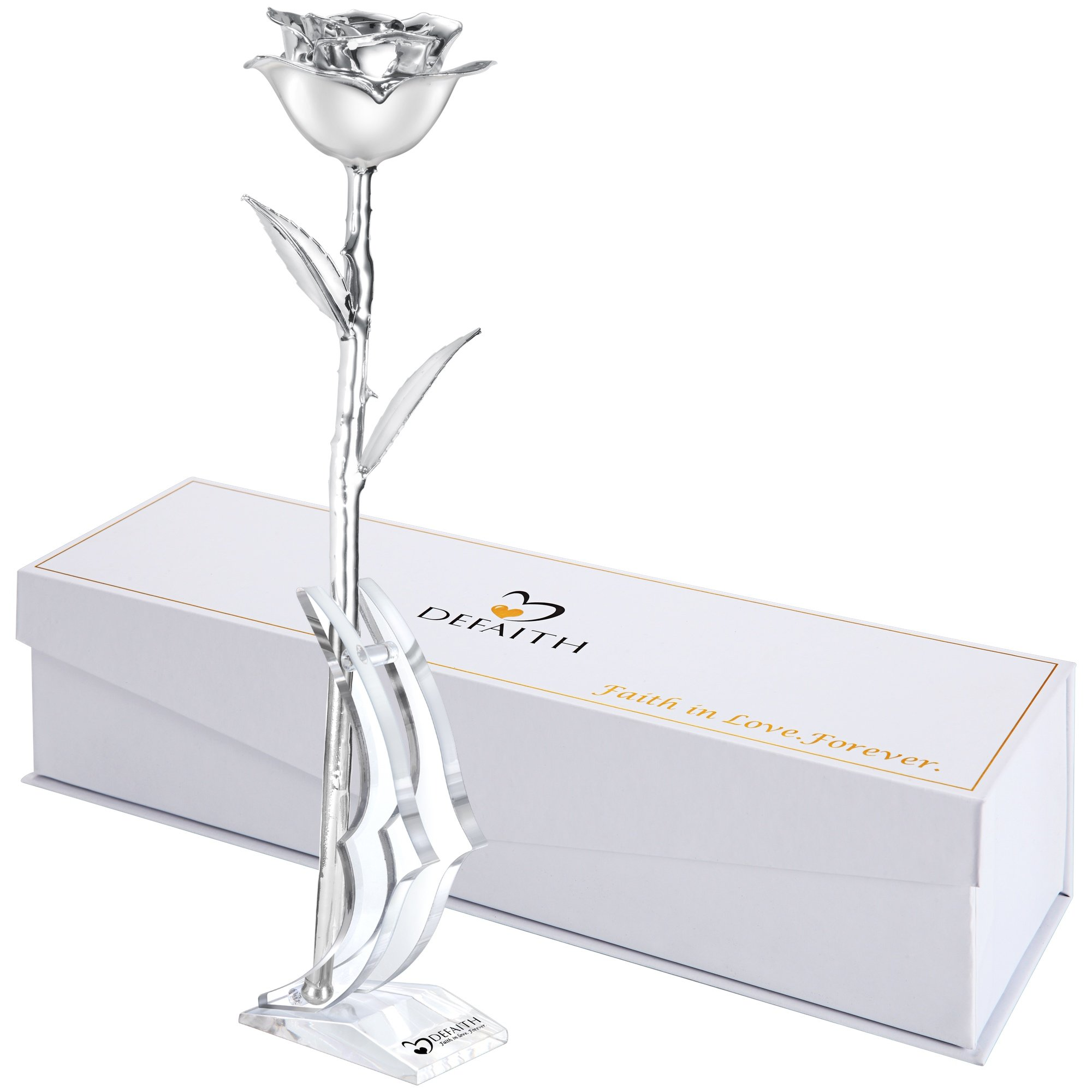 DeFaith Silver Everlasting Rose Made from Real Rose with Stand - You are loved always - Great 25th Anniversary Gifts and Mother's Day Gift for Her Wife Women