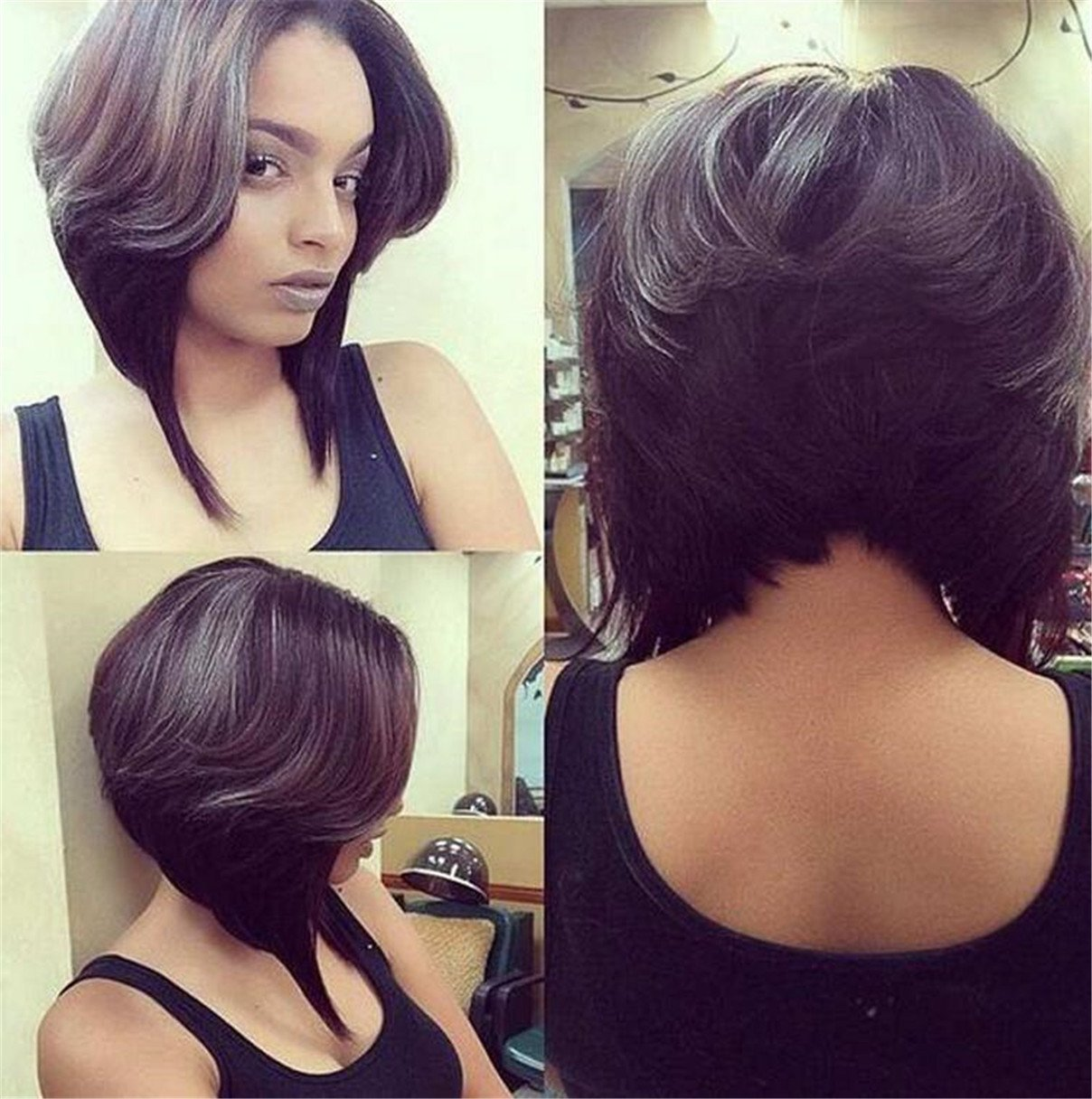 Amazon Com Atozwig Short Black Bob Cut Wigs Of Natural Hair Short