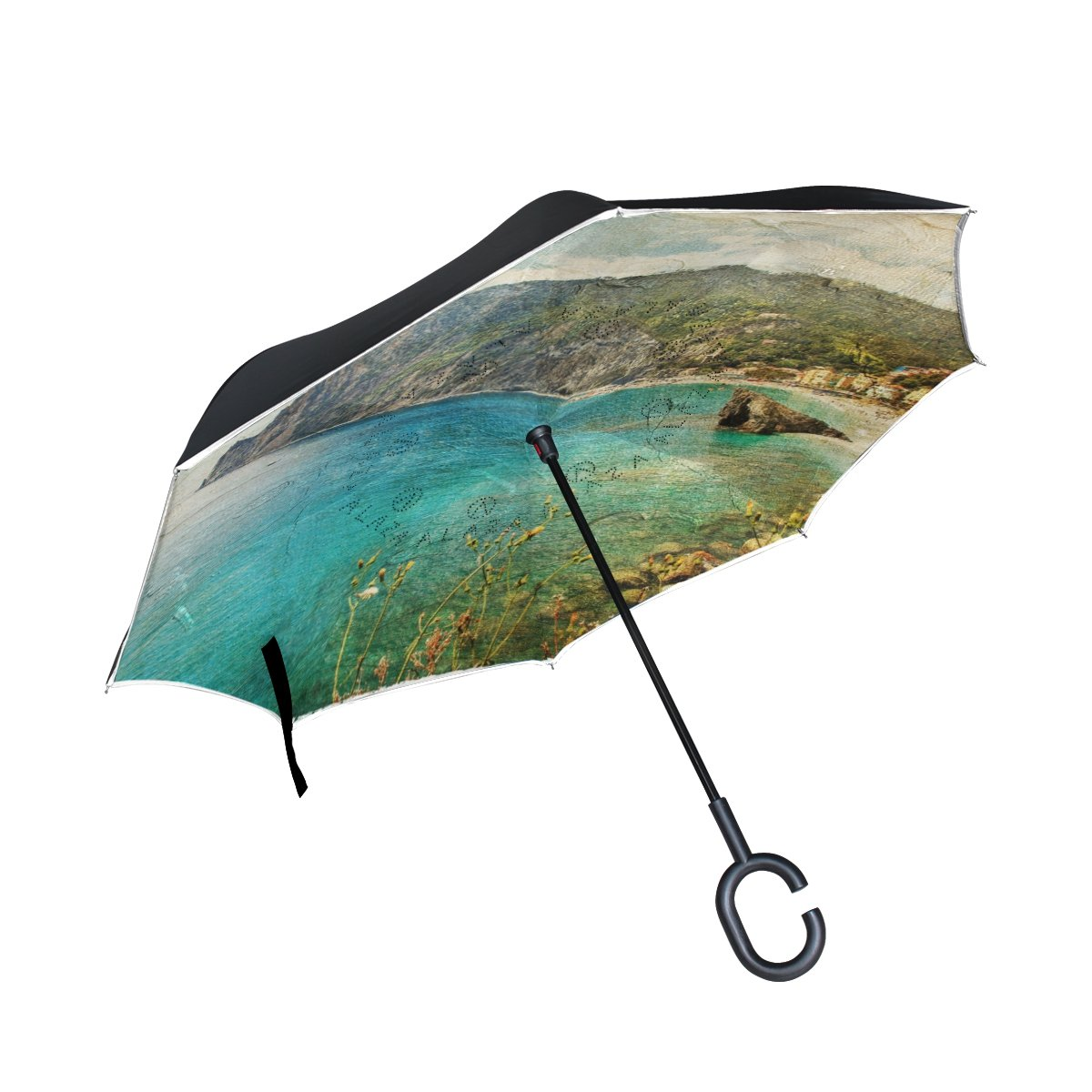 My Daily Double Layer Inverted Umbrella Cars Reverse Umbrella Italian Coast Retro Artwork Vintage Painting Windproof UV Proof Travel Outdoor Umbrella   B0762HG1H1