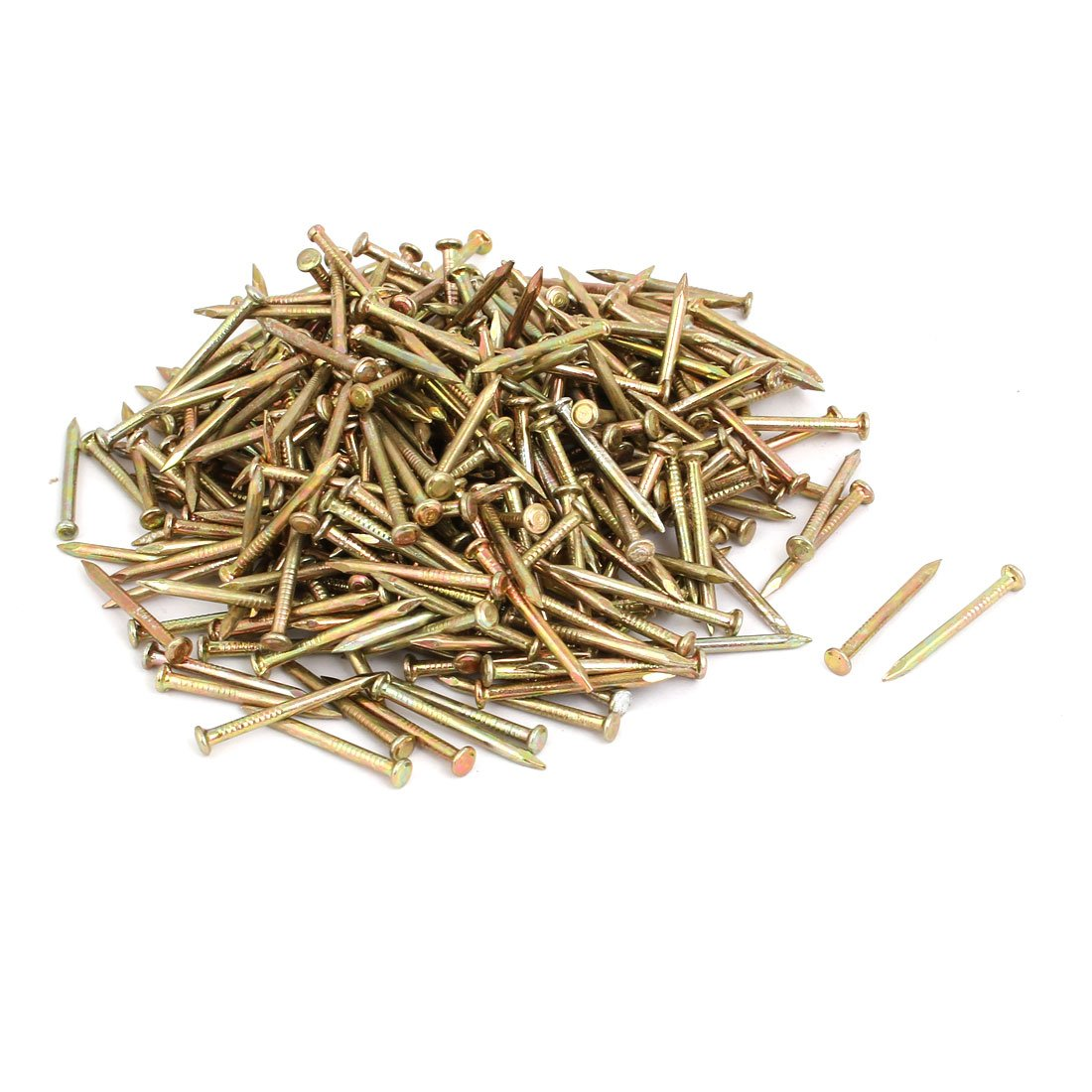 uxcell 500pcs 25mm Length Steel Point Tip Cement Nail Bronze Tone