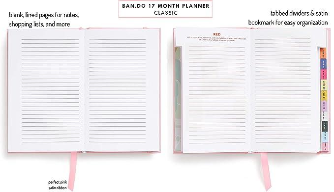 Ban.do Planificador diario clásico de 17 meses 2019 – 2020 con vistas semanales y mensuales, 8.13 x 5.13 pulgadas, fecha de agosto 2019 – diciembre ...