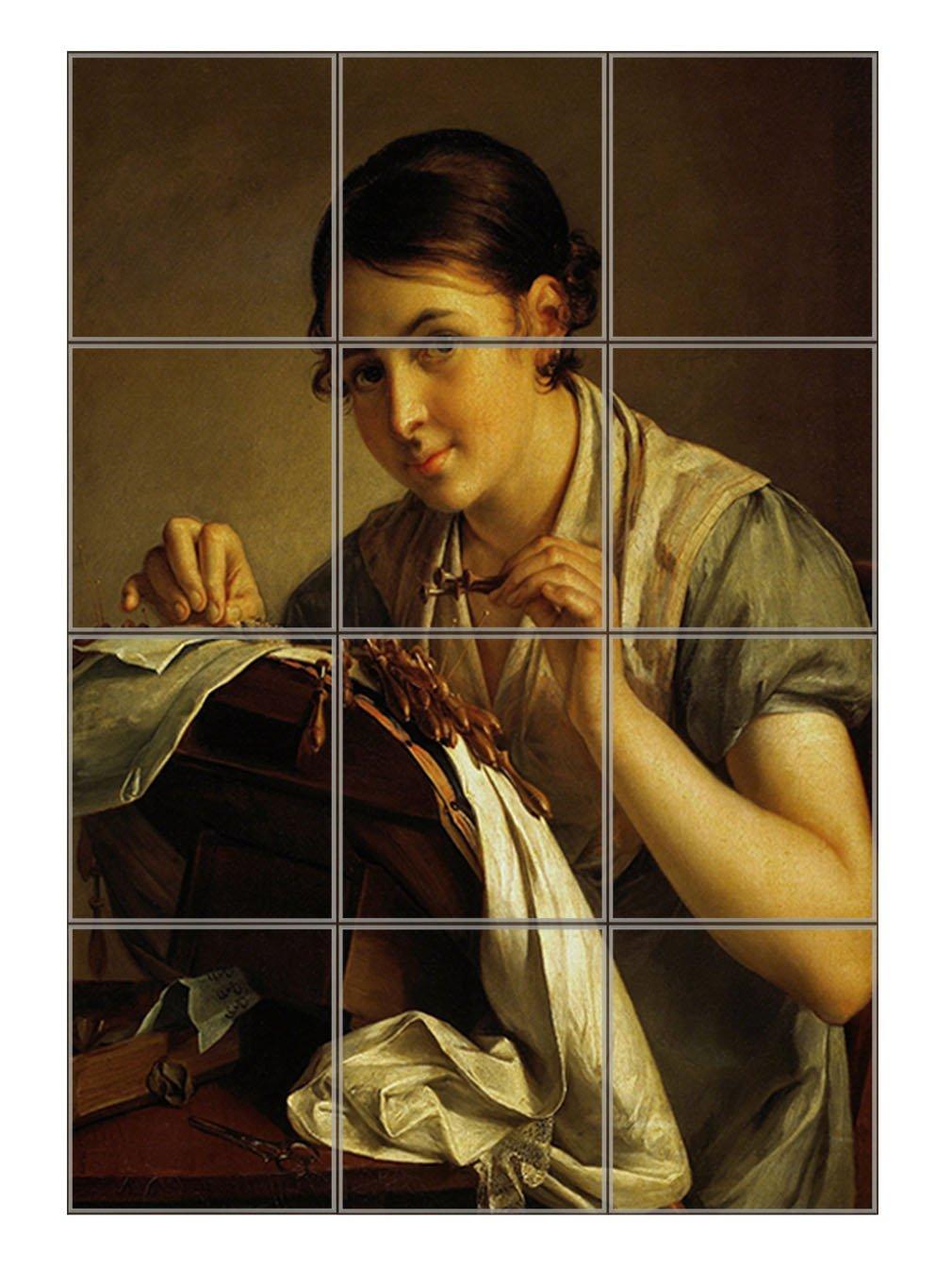 The Lace Maker (Vasily Tropinin) Vertical Tile Mural Satin Finish 16''Hx12''W 4 Inch Tile