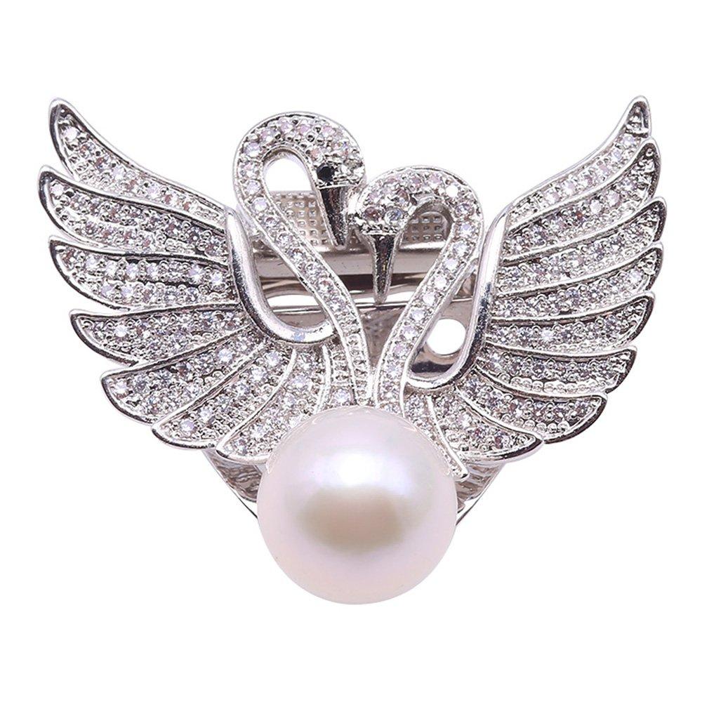 JYX Lovely Swan-style Natural White Freshwater Pearl Brooches Pins Pendant