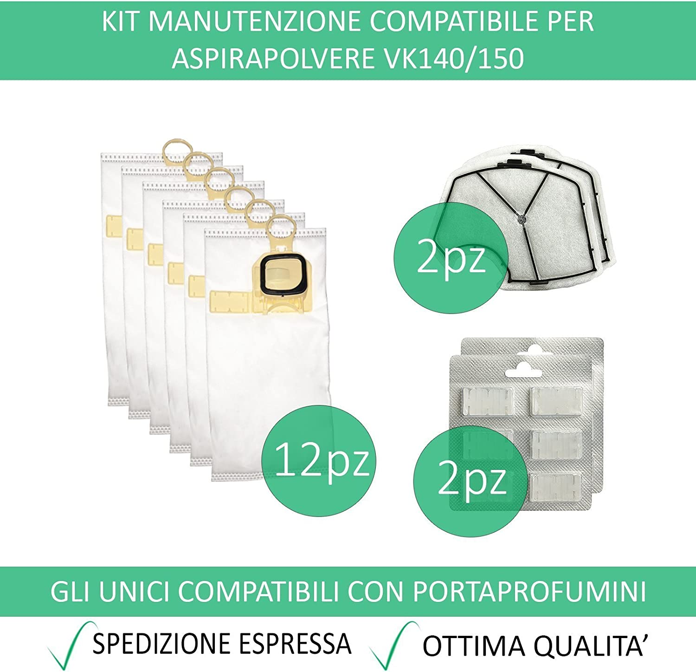 Sacchetto per aspirapolvere adatto per Vorwerk Folletto 140 150 con EB 360 370 Sacchetti Filtro