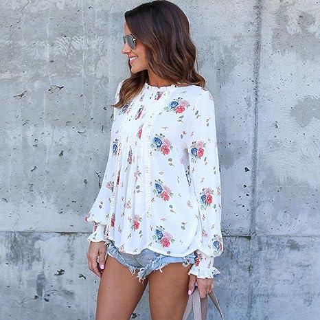 Camisa de Manga Larga para Mujer Moda Blouses del Sexy Impresión Floral Blusa Casual Gasa Tops Estampados Camiseta Camisa Pulóver: Amazon.es: Ropa y ...