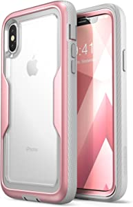 i-Blason Magma Series Case for iPhone X / iPhone Xs,Heavy Duty Protection Clear BackShock Reduction/Full Body Bumper Case with Built-in Screen Protector (Rosegold)