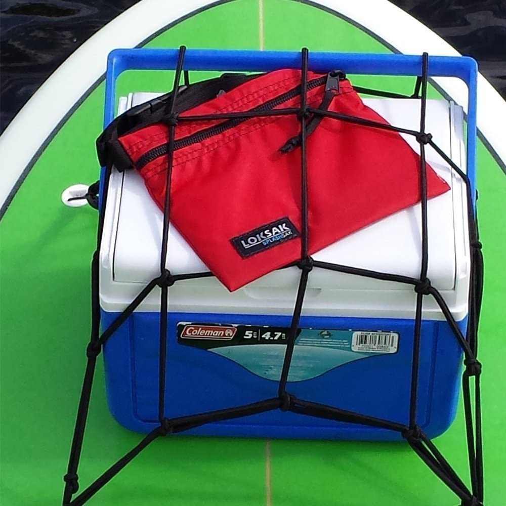 SUPSmart Stand Up Paddle Board Cargo Net with 4 Anchors Allowing Bungee to Stretch Securing Other SUP Accessories and Tie Down Personal Valuables Safely