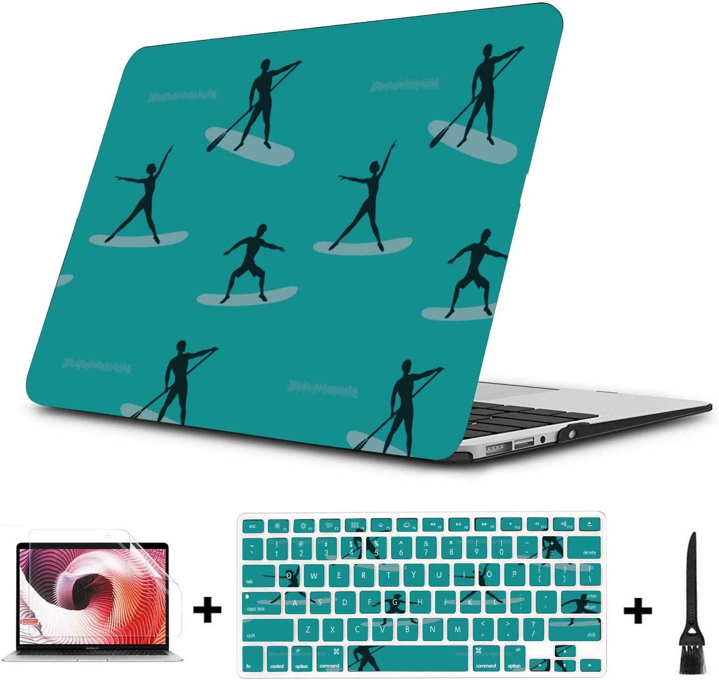 MacBook Air Laptop Cover Rowing Hand-Painting Sports Custom Plastic Hard Shell Compatible Mac Air 11 Pro 13 15 Laptop Case 13 Inch Protection for MacBook 2016-2019 Version