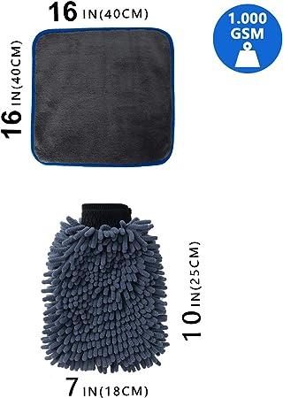 Wemk Mikrofaser Auto Reinigungstuch 1000gsm 40 X 40 Cm 16 X 16 In Und Mikrofaser Autowaschhandschuh Extrem Weicher Für Autowäsche Polieren Und Haushaltsreinigung Küche Haushalt