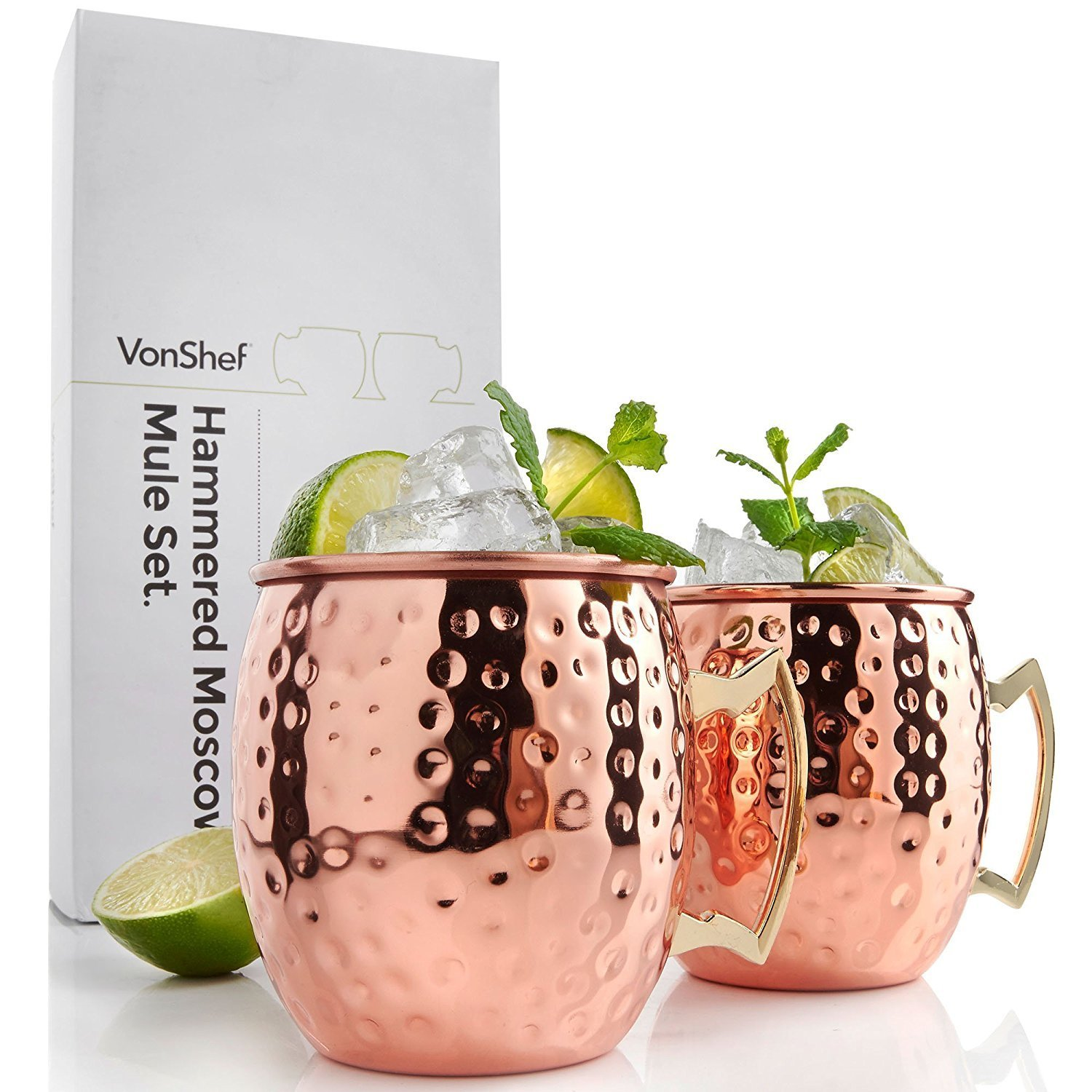 VonShef Moscow Mule Mugs Set, Copper Finish, Hammered Effect Moscow Mule Cups, Barrel Style Mug, Set of 2