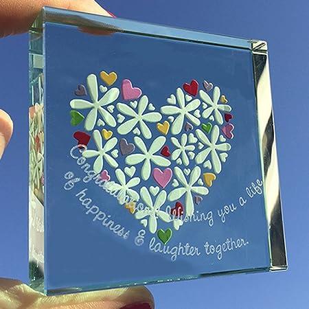 Spaceform Medium Paperweight Wedding Flowers Hearts Congratulations 1959