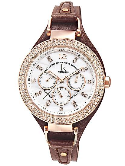 Alienwork Reloj Mujer Relojes Piel de Vaca marrón Analógicos Cuarzo Calendario Fecha Oro Rosa Blanco Impermeable