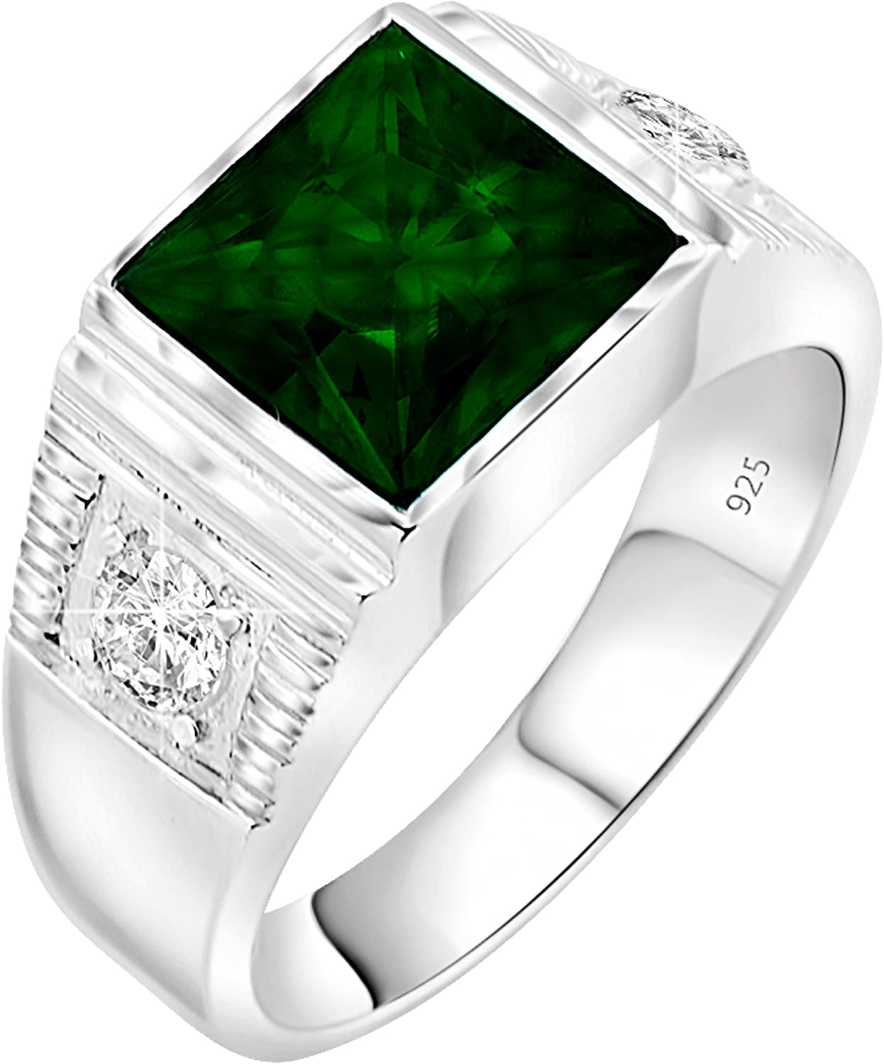 [2-5 Days Delivery] Men's Sterling Silver .925 Princess-Cut Ring Featuring a Synthetic Green Emerald Stone Surrounded by 2 Fancy White Cubic Zirconia (CZ) Stones