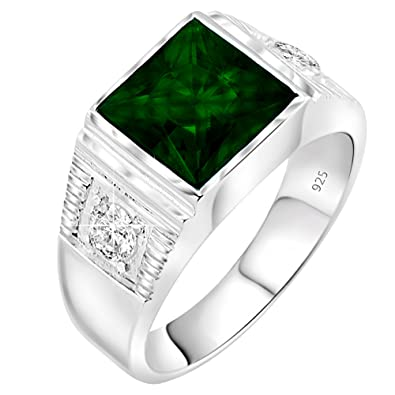17782af942ced Men's Sterling Silver .925 Princess-Cut Ring Featuring a Synthetic Green  Emerald Stone Surrounded by 2 Fancy White Cubic Zirconia (CZ) Stones