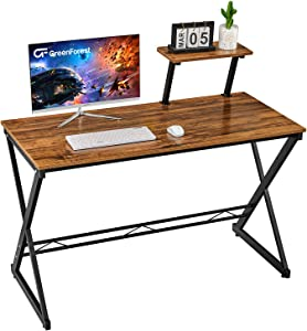 """GreenForest Computer Desk 47"""" Small Writing Desk for Home Office Studying Gaming Laptop Table with with Moveable Shelf, Walnut"""