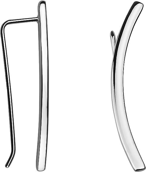 SOFIA MILANI - Pendientes para Mujeres en Plata de Ley 925 - Pendientes de Escalador de Curvado - 20520