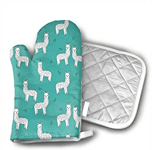 Amazon Com Teal Alpacas Cute Llamas Baby Oven Mitts And