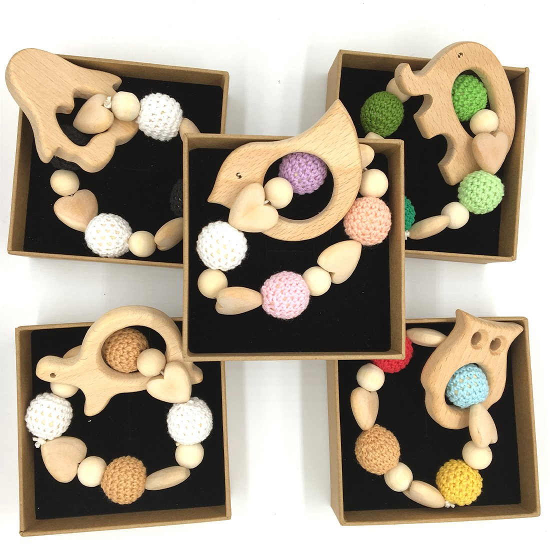 Coskiss DIY Baby Teether Juguetes Accesorios Kit Beb/é Madera Teething Wood Anillo Blending libertad creativa para la decoraci/ón del beb/é Baby dentici/ón A131
