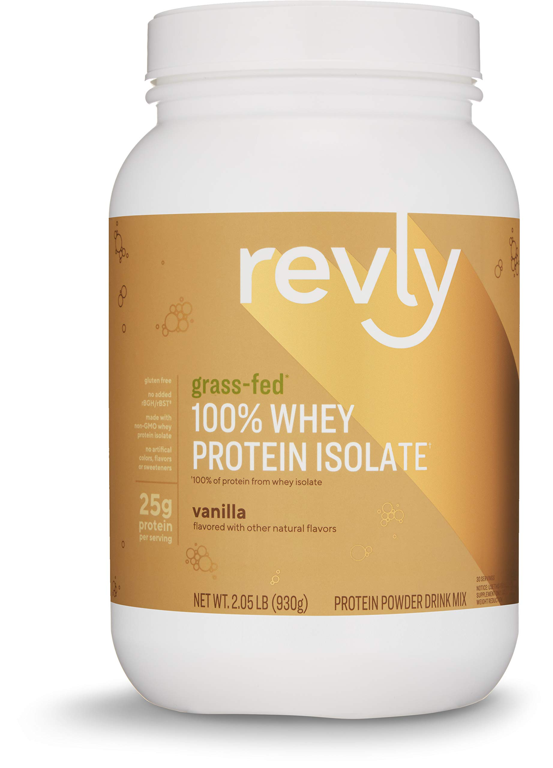 Amazon Brand - Revly 100% Grass-Fed Whey Protein Isolate Powder, Vanilla, 2.05 lbs, 30 Servings, Gluten Free, Non-GMO, No added rbgh/rbst‡ by Revly