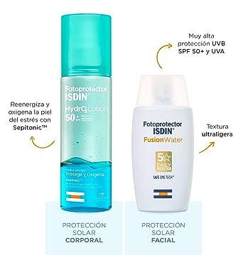 ISDIN PACK Protector Solar Facial Fusion Water SPF 50+ | Protector Solar Corporal Bifásico ISDIN HydroLotion SPF50+: Amazon.es