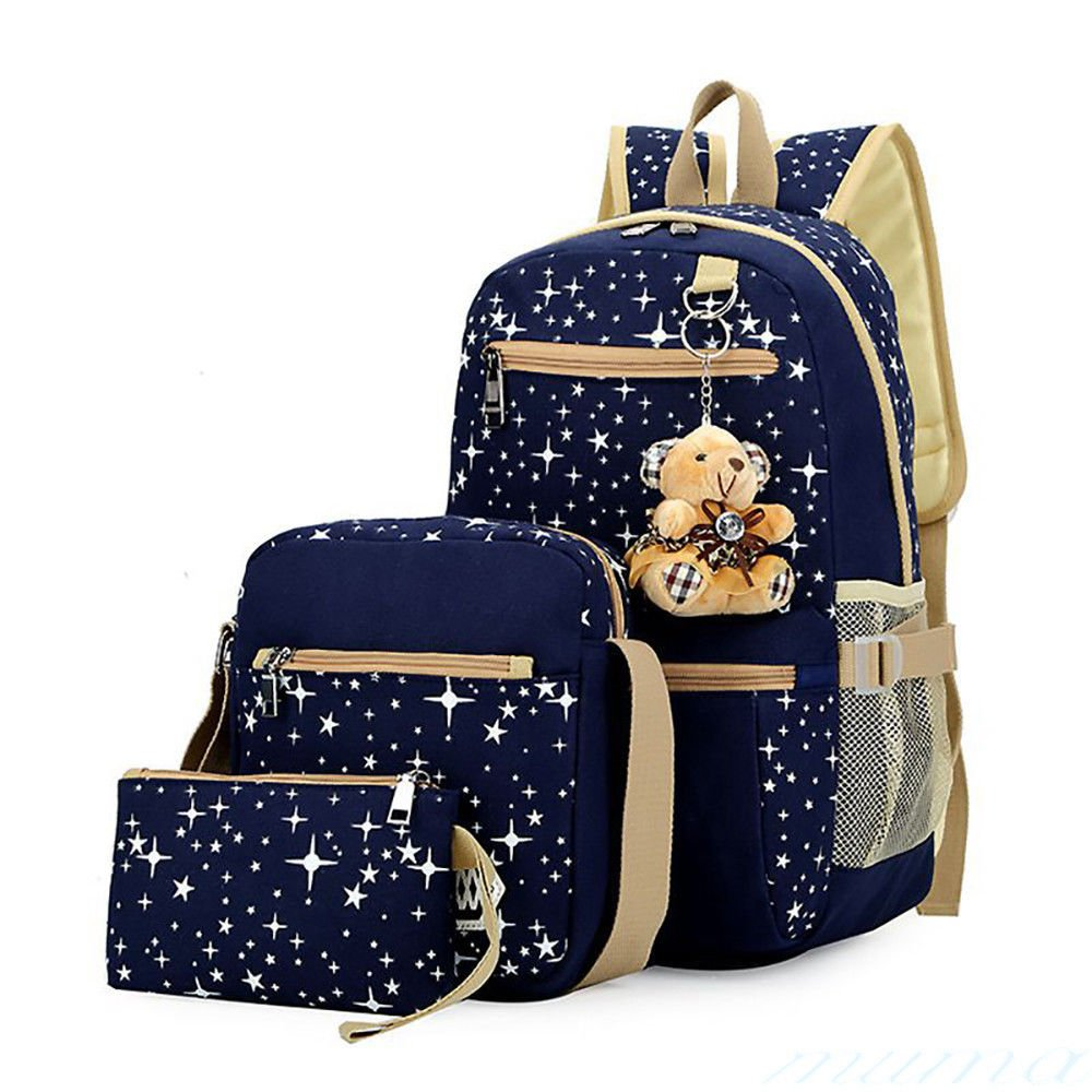 3 x Fashion Women Girls Travel Canvas Rucksack Backpack Tote School Shoulder Bag (Blue) AHG