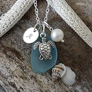 product image for Handmade in Hawaii, Personalized Turquoise bay blue sea glass necklace, sea turtle charm, Freshwater pearl, (Hawaii Gift Wrapped, Customizable Gift Message)