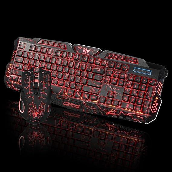 Ba Zha Hei de LED Gaming Wired 2.4G Keyboard and Mouse Set to Computer Multimedia Gamer del Juego de Teclado LED (Teclado + Mouse) Combo Ratón y Teclado ...
