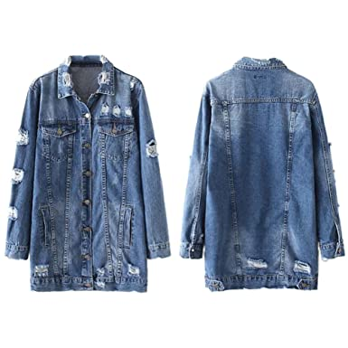 88ff4bd1da iBaste Women Girls Retro Loose Fit Long Sleeve Vintage Denim Casual Wash  Faded Boyfriend Jean Jacket Ladies Blue  Amazon.co.uk  Clothing