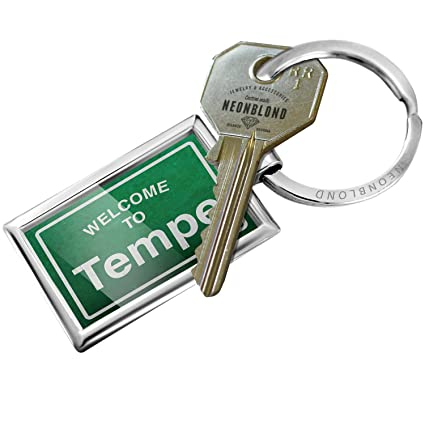 Amazoncom Neonblond Keychain Green Road Sign Welcome To Tempe