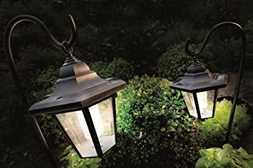 2 X Solar Coach LED Lanterns Garden Lights With Shepherds Hooks