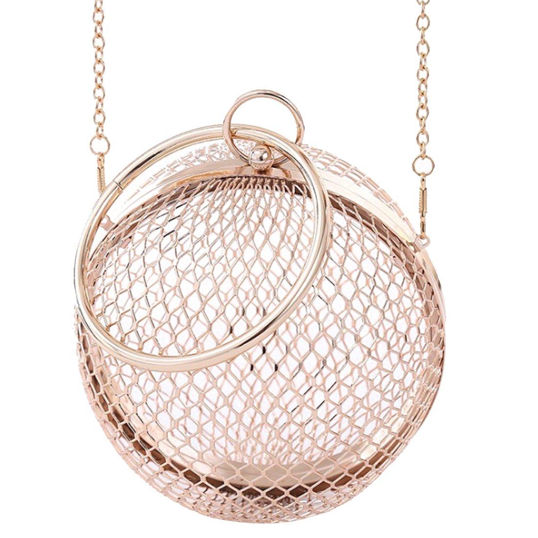 Evening Bag, YIFAN Ball shaped Bag Ladies Arcylic Party Purses Clutch Vintage Banquet Handbag 5.9''(Golden)