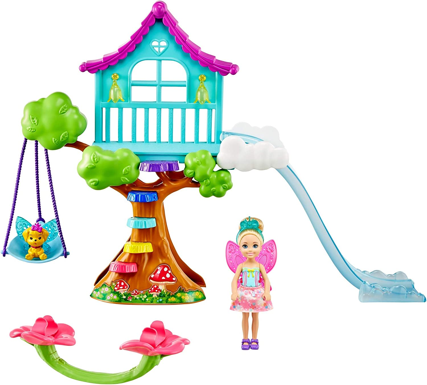 Barbie Dreamtopia Chelsea Fairy Doll and Fairytale Treehouse Playset with Seesaw, Swing, Slide, Pet and Accessories, Gift for 3 to 7 Year Olds