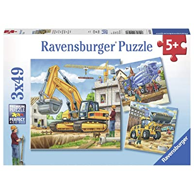 Ravensburger 09226, Large Construction Vehicles 3 x 49 Piece Puzzles in a Box, 3 x 49 Piece Puzzles for Kids, Every Piece is Unique, Pieces Fit Together Perfectly: Toys & Games