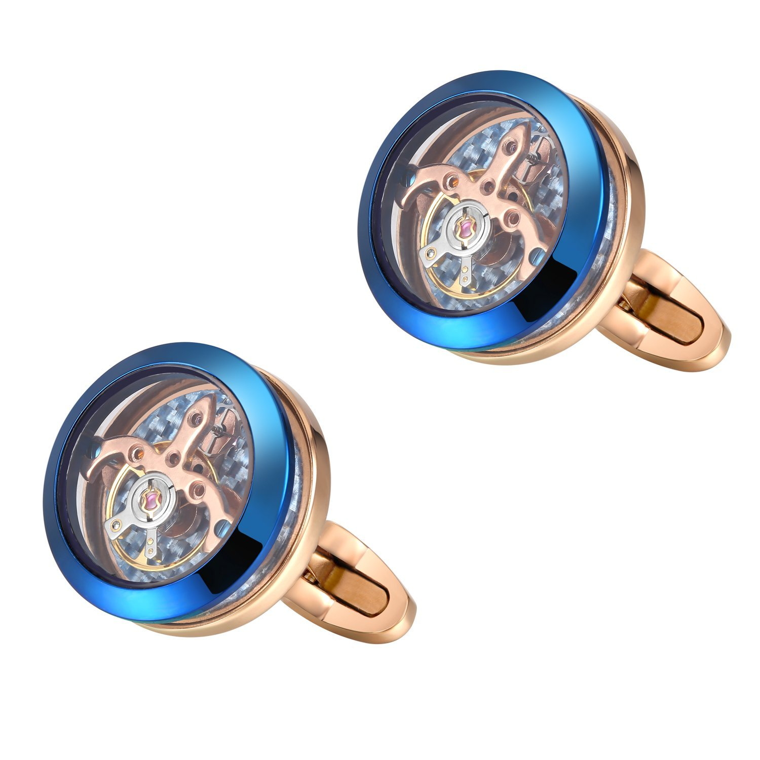 Dich Creat Men's Stainless Steel Rose Gold Plated Tourbillon Cufflinks with Carbon Fiber Backing (Blue/Rose Gold)
