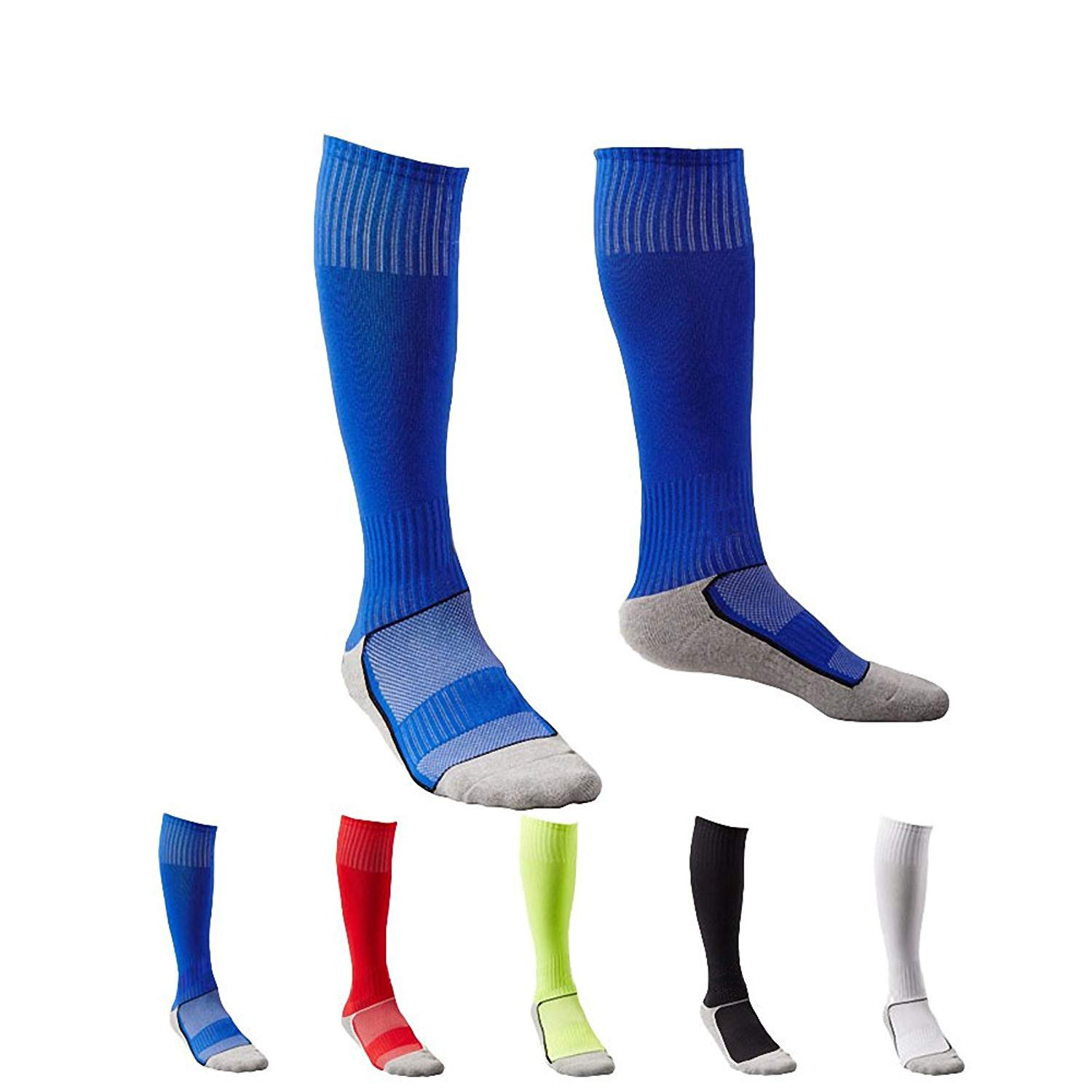 5 Pair Childrens/Kids Boys Long Athletic Football / Soccer SocksSport Tube SocksOver the Knee High Cotton Socks, One Size, Multi Colors
