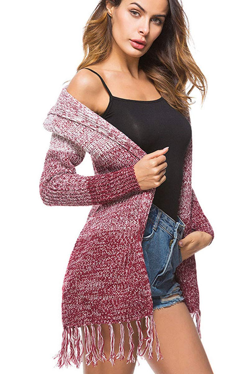 Womens Long Knit Drapey Big and Tall Taped Crochet Casual Loose Fit Shawl Bape Poncho Sweater Pullover Shrug Tops Red L