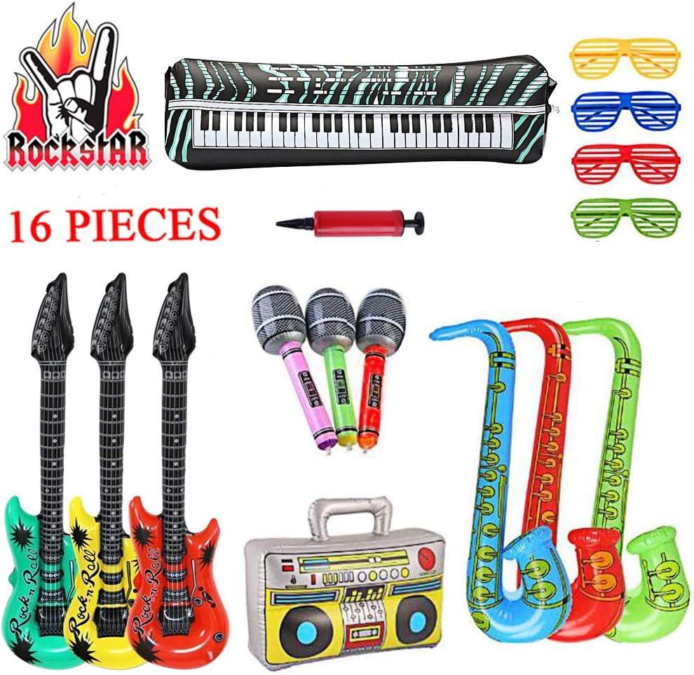 SUPERSUN 16PCS Guitarras inflables, Rock Star Props Decoraciones ...